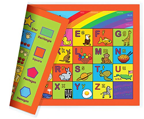 NewSpaceView Natural Learning Childrens Placemat (Alphabet, Numbers, Shapes, Colors 4-in-1 (1 Pack))