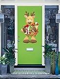 Christmas Presents Deer Door Decor Full Color Wall Decal, Christmas Presents Deer Door Decor Full Color Wall Sticker, K-682 FRST(52''x80'')