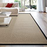 iCustomRug Zara Synthetic Sisal Collection Area Rug and Custom Size Runners, Softer Than Natural Sisal Rug, Stain Resistant & Easy to Clean Beautiful Border Rug in Black 8' x 10'