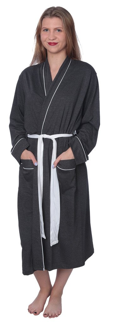 Women's Soft Jersey Knit Cotton Blend Wrap Robe Sleepwear with Piping Finish Y18_WJR01 Charcoal 3X