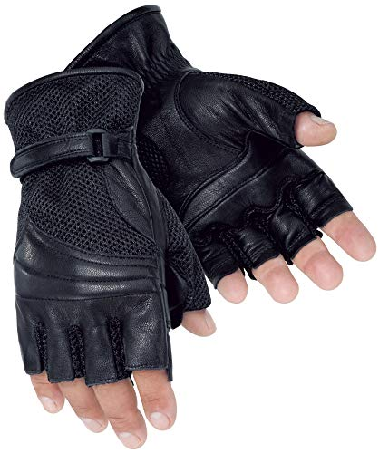 Tour Master Gel Cruiser 2 Fingerless Mens Leather/Textile Cruiser Motorcycle Gloves - Black/Small