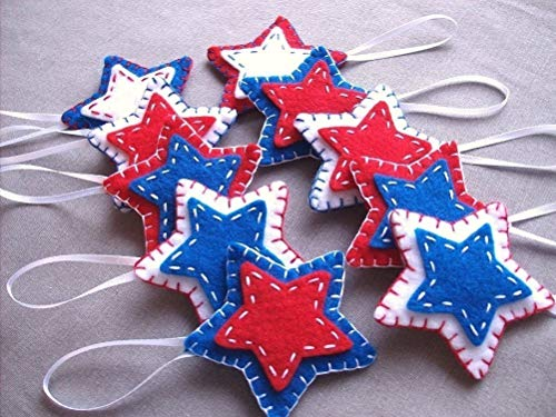 10 patriotic star ornaments, red white blue star decorations, 4th July Independence day American flag, -