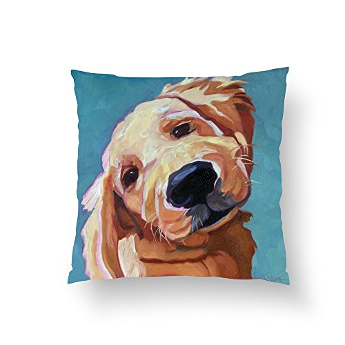(Zippered Pillow Covers Pillowcases 16x16 Inch Pet Portrait Golden Retriever Pillow Pillow Cases Cushion Cover for Home Sofa Bedding)