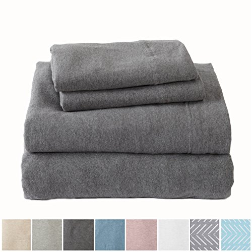 Great Bay Home Extra Soft Heather Jersey Knit (T-Shirt) Cotton Sheet Set. Soft, Comfortable, Cozy All-Season Bed Sheets. Carmen Collection Brand. (Queen, - Jersey Queen Knit Sheet