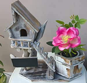 Shabby Chic Wooden Planter Plant Pot Bird Box House Distressed Washed Style