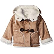 Jessica Simpson Baby Girls' Faux Suede and Sherpa Trimmed Toggle Jacket, Light Khaki, 3-6 Months
