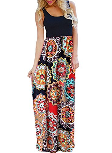OURS Women's Vintage Sleeveless Ethnic Style Long Maxi Dresses Plus Size (X-Pattern2, XXL)