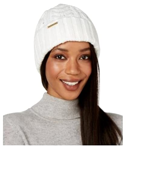 3e034e3fe MICHAEL Michael Kors Womens Rib Cable Cuff Beanie White Grey (Cream ...