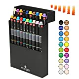interior paint design Watercolor Paint Brush Pens, Interior or Animation Design Twin Head Broad and Fine Point Tip, Water Based Ink Color Gradually Changing Marker Pen for Student Drawing, Coloring (20pcs of twenty colors)