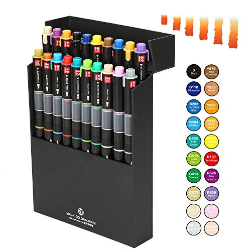 Watercolor Paint Brush Pens, Interior or Animation Design Twin Head Broad and Fine Point Tip, Water Based Ink Color Gradually Changing Marker Pen for Student Drawing, Coloring (20pcs of twenty colors)