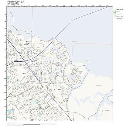 Amazon.com: ZIP Code Wall Map of Foster City, CA ZIP Code Map Not ...