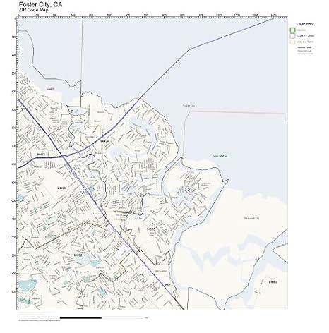 Amazon.com: ZIP Code Wall Map of Foster City, CA ZIP Code ...