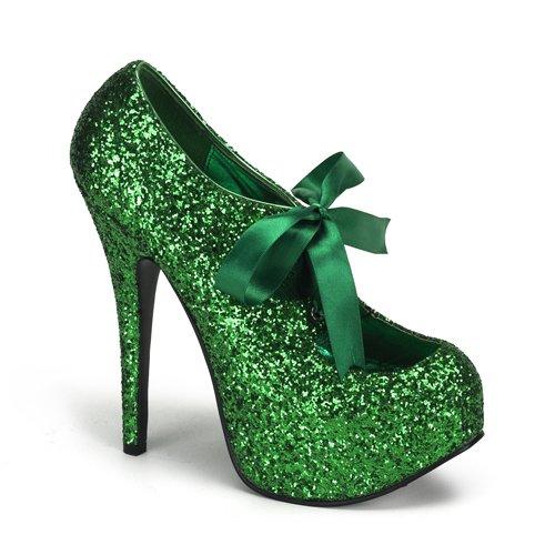 Bordello by Pleaser Women's Teeze-10G Pump,Green Glitter,6 M US -