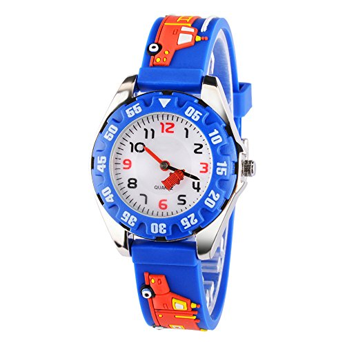 Venhoo Kids Watches 3D Cute Cartoon Digital Waterproof Silicone Children Wristwatches Time Teacher Gifts for Boys Girls-Blue
