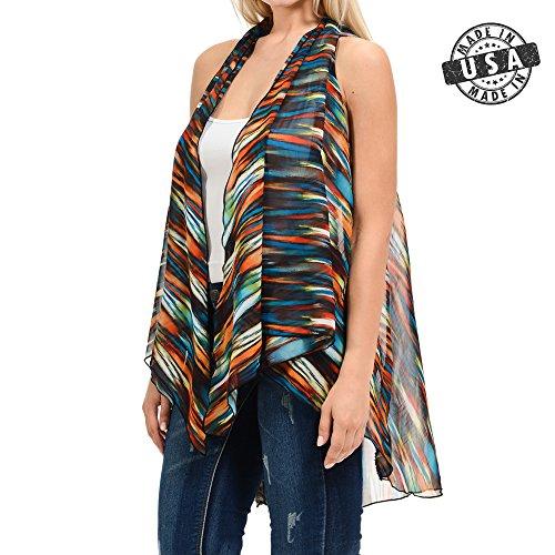 BASICO Womens Plus Size Open Asymmetrical Hem Chiffon Vest Cardigan Cover up