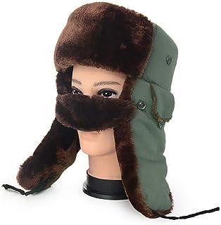 FERZA Home Cappelli da Uomo di Mezza età e di Vecchio Stile, Invernali, Lei Feng, Caldo Cotone Imbottito, paraorecchie Maschere (Color : Black)