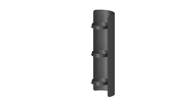 Ofenrohr - Strahlungsschutz; 750 mm Länge und 150mm Durchmesser, schwarz