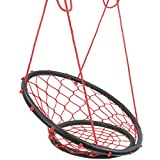 Sorbus Web Chair Swing, Rope Net Style Hammock Chair, 264 Pound Capacity, Perfect for Kids & Adult Lounging Indoor/Outdoor Home, Patio, Deck, Yard, Garden (Black)
