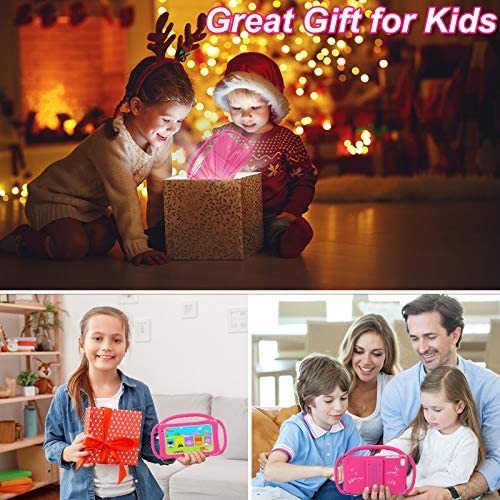 Tablet for Kids Tablets 7 Android Toddler Tablet for Kids Learning Tablet 2GB RAM 16GB ROM 1024X600 IPS Screen with WiFi Google Play Store YouTube Educational Games Parental Control Mode (Rose Red)