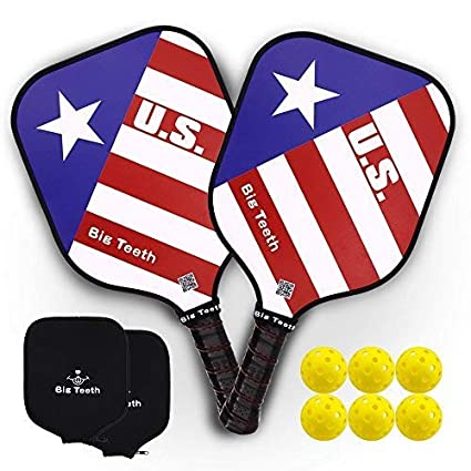 Big Teeth Pickleball Paddle Graphite Composite Lightweight Honeycomb Core Graphite Carbon Fiber Face 2 Paddles Set