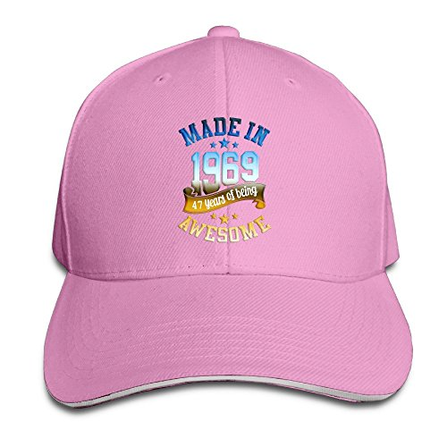 Adults Made In 1969 Awesome 47th Birthday Adjustable Sandwich Peak Cap Pink