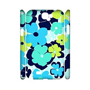 Blue Flowers Custom 3D Cover Case for Samsung Galaxy Note 2 N7100,diy phone case ygtg613115