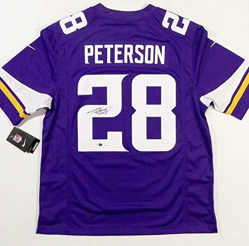 (Autographed Adrian Peterson Jersey - Nike Purple W Auth *2 - JSA Certified - Autographed NFL Jerseys)