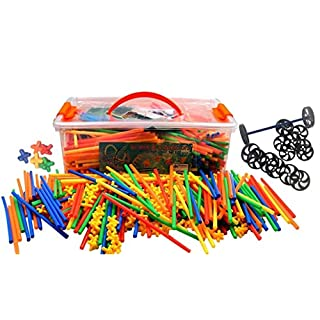 Playlearn Large 800 Piece Straws Builders Construction Building Toy with Wheels - Giant Pack with Special Colored Connectors