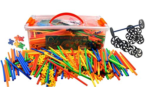 (Large 800 Piece Straws Builders Construction Building Toy with Wheels - Giant Pack with Special Colored Connectors by)