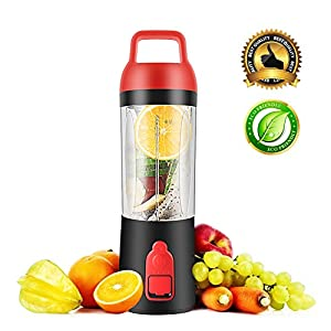 Personal Portable Juicer Blender, OKEPOO Beauty Mini Fruit Mixer Bottle Cup with 4 Blades, Hand held Immersion Food Processor 320ML with Power Bank 10000mAh, Suitable for Outdoor Sports.