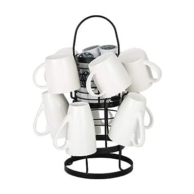 PAG Metal Coffee Mug Rack Tree Stand with Pod Holder Basket for Kitchen,for Medium and Large Mugs,10 Hooks,Black