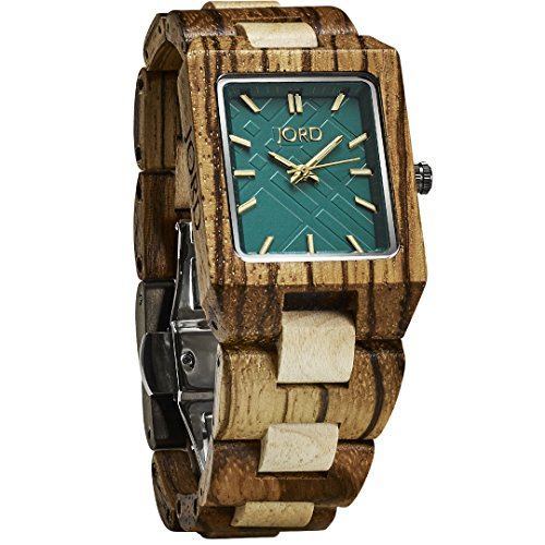 JORD Wooden Wrist Watches for Men or Women - Reece Series / Wood Watch Band / Wood Bezel / Analog Quartz Movement - Includes Wood Watch Box (Zebrawood & Emerald) by Jord