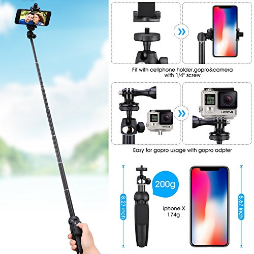 Apsung Selfie Stick Tripod, 40-Inch Extendable iPhone Tripod with Wireless Remote, Portable Selfie Stick for iPhone X/iPhone 8/8 Plus/iPhone 7/7 Plus/Android/Gopro/Digital camera,Gopro Adapter Include by Apsung (Image #2)