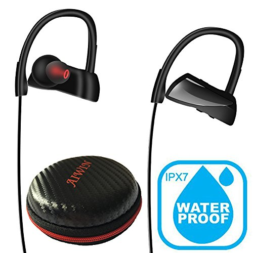 Bluetooth Running Headphones, AIWIN Wireless Sports Earphones w/ Mic Storage Case Comfortable IPX7 Waterproof Sweat Proof HD Stereo Noise Cancelling Earbuds for Workout Yoga Gym In Ear Headset