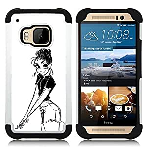 BullDog Case - FOR/HTC ONE M9 / - / GIRL PENCIL DRAWING SEXY LOOK SHORTS BIG EYES /- H??brido Heavy Duty caja del tel??fono protector din??mico - silicona suave