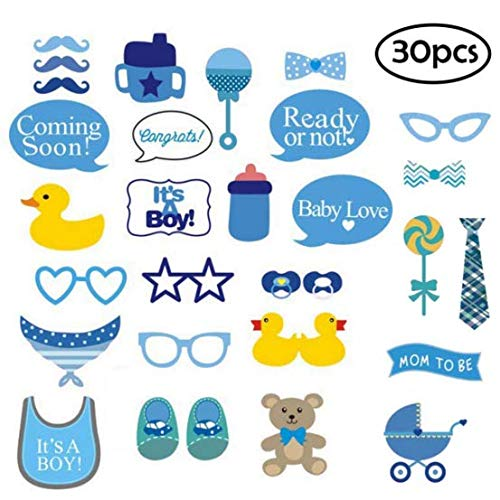 It's A Boy Baby Shower Photo Booth Props Kit, DIY Pose Sign Party Decoration Supplies - 30 Printed Pieces with Wooden Sticks(Blue) ()