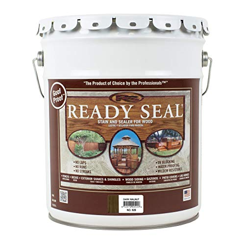 (Ready Seal 525 5-Gallon Pail Dark Walnut Exterior Wood Stain and Sealer (Renewed))
