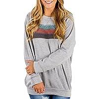 Astylish Women Casual Color Block Long Sleeve Crewneck Sweatshirt Loose Blouses Top