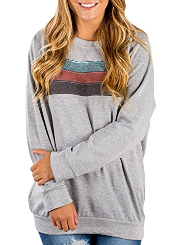Dokotoo Womens Plus Size Cozy Fashion Cute Ladies Casual Long Full Sleeve Solid Sport Tunics Sweatshirt Pullover Blouses Tops Under 20 Grey Large