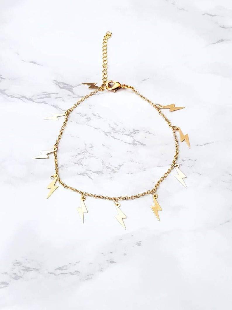 Lightning Anklet Gold Bolt Jewelry