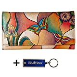 Anna by Anuschka Ladies Wallet & Key Chain (Checkbook Butterfly Glass Painting)