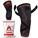 Athledict Knee Brace Compression Sleeve with Strap for Best Support & Pain Relief for Meniscus Tear, Arthritis, Running, Basketball, MCL, Crossfit, Jogging, Post Surgery Recovery for Men & Women XL