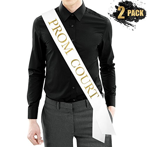 PROM COURT Sash - SET of 2 - White Satin Sash/Metallic Gold Print - Prom Decorations School Prom Class of 2018 Prom Sash Prom Formal Supplies -