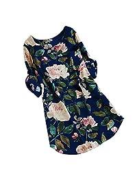 Makaor Valentine - Vestido de Verano de Lino y algodón Suelto con Estampado para Mujer, Talla Grande