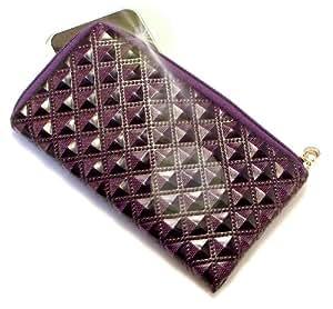 """""""Princesa"""" Púrpura Oscuro, Lujosa billetera de cuero de imitación acolchonado con cierre para Alcatel OT-508A. Auténtica Funda / Estuche con correa para transportar para teléfonos móviles."""
