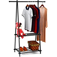 Modern Coat Rack With Shelf - SUNPACE SUN007 Black Shoe Garment Rack Hanger Organizer Heavy Duty for Office,Entryway,Bedroom