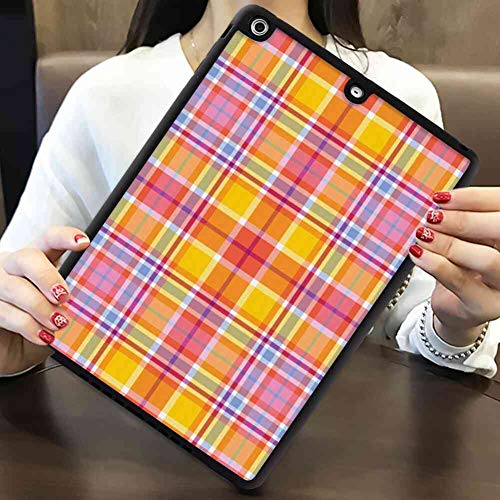 (Case Compatible for iPad Air (2013) or iPad 5 (2013) (9.7 Version) Abstract Madras Style Tartan Motif with Vivid Tone Bands Celtic Old Design Marigold Pink Earth Yellow)
