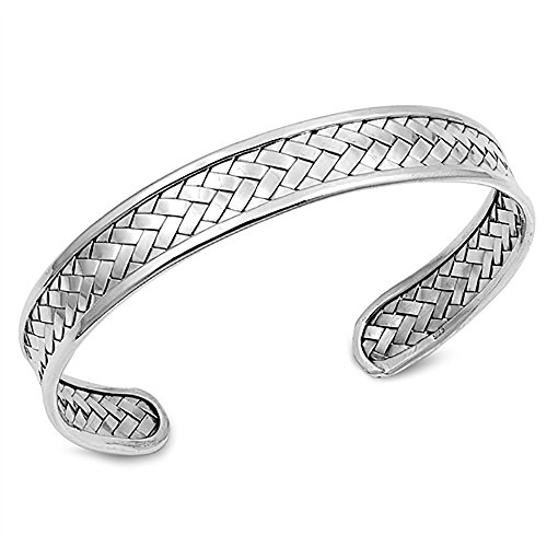 12mm 925 Sterling Silver Bracelet Bali Style Braided Woven Weaving Adjustable Cuff Bangle Bracelet, 7.5