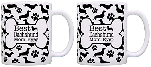 Costume Dog People (Dog People Gifts Best Dachshund Doxen Mom Ever Paw Pattern Mom Mug 2 Pack Gift Coffee Mugs Tea)