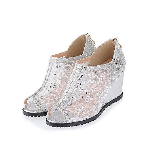 Women's Leather Toe Zipper High Solid Silver Cow Heels Peep WeenFashion Sandals gRFwq7HSF